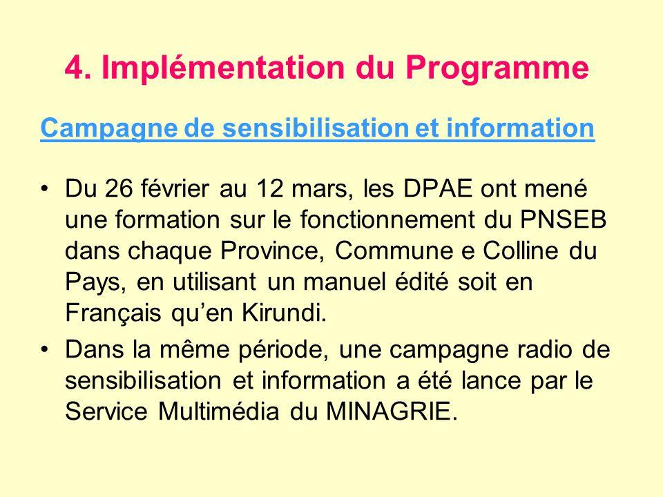 4. Implémentation du Programme Campagne de sensibilisation et information Du 26 février au 12 mars, les DPAE ont mené une formation sur le fonctionnem