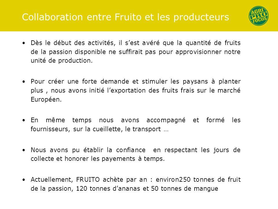 Collaboration entre Fruito et les producteurs Dès le début des activités, il sest avéré que la quantité de fruits de la passion disponible ne suffirai