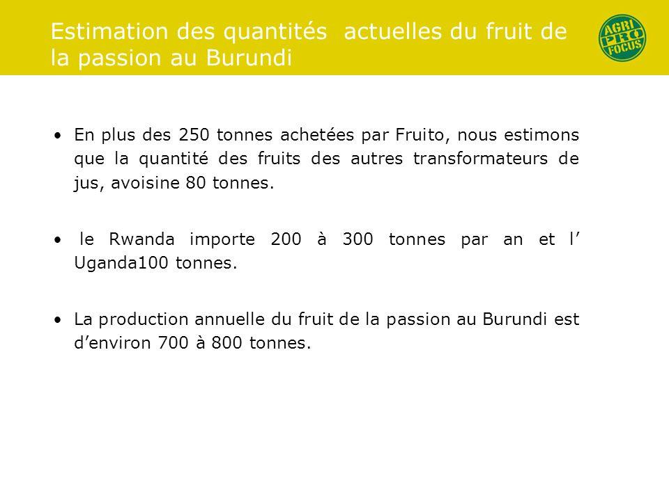 Estimation des quantités actuelles du fruit de la passion au Burundi En plus des 250 tonnes achetées par Fruito, nous estimons que la quantité des fru