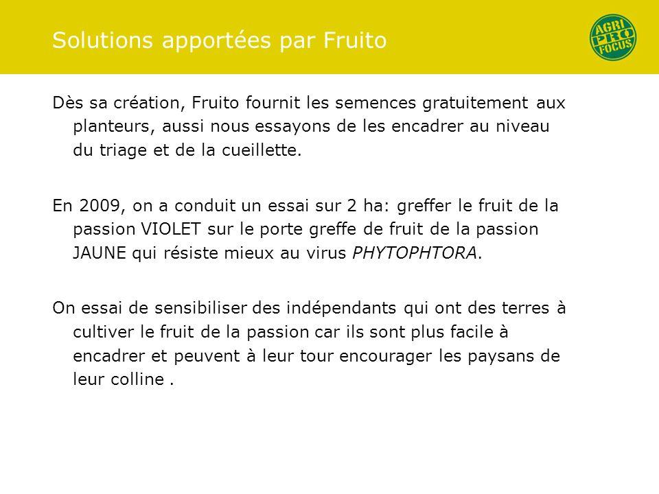 Solutions apportées par Fruito Dès sa création, Fruito fournit les semences gratuitement aux planteurs, aussi nous essayons de les encadrer au niveau