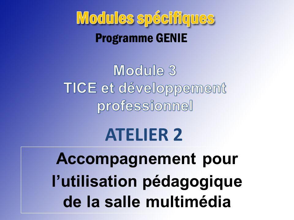 ATELIER 1 Intégration des TICE et développement professionnel ATELIER 2 Accompagnement pour lutilisation pédagogique de la salle multimédia