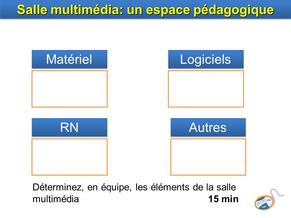 Salle multimédia: un espace pédagogique Matériel Logiciels RN Autres Déterminez, en équipe, les éléments de la salle multimédia 15 min