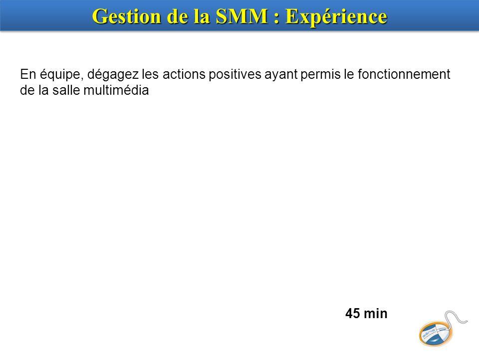 En équipe, dégagez les actions positives ayant permis le fonctionnement de la salle multimédia 45 min Gestion de la SMM : Expérience
