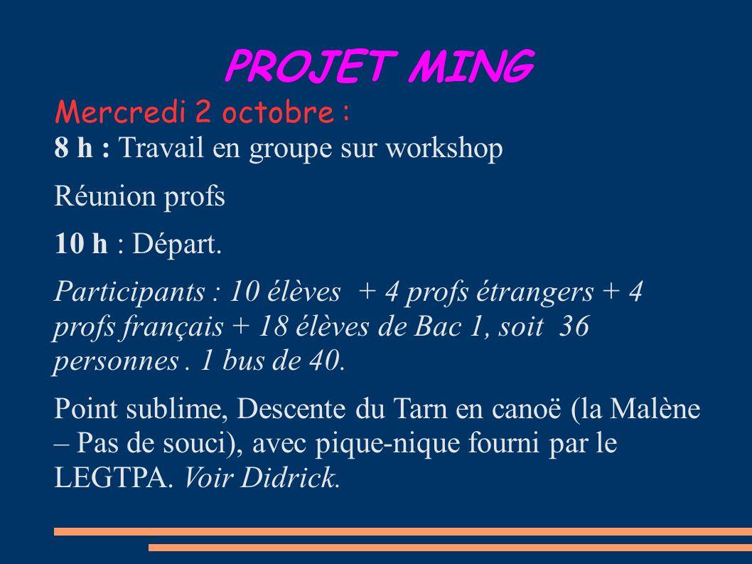 PROJET MING Mercredi 2 octobre : 8 h : Travail en groupe sur workshop Réunion profs 10 h : Départ. Participants : 10 élèves + 4 profs étrangers + 4 pr