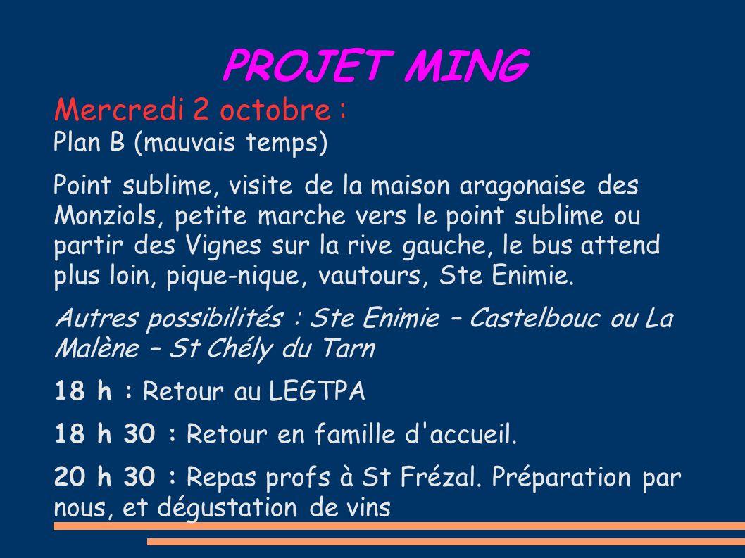 PROJET MING Mercredi 2 octobre : Plan B (mauvais temps) Point sublime, visite de la maison aragonaise des Monziols, petite marche vers le point sublim