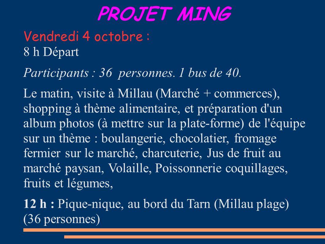 PROJET MING Vendredi 4 octobre : 8 h Départ Participants : 36 personnes. 1 bus de 40. Le matin, visite à Millau (Marché + commerces), shopping à thème