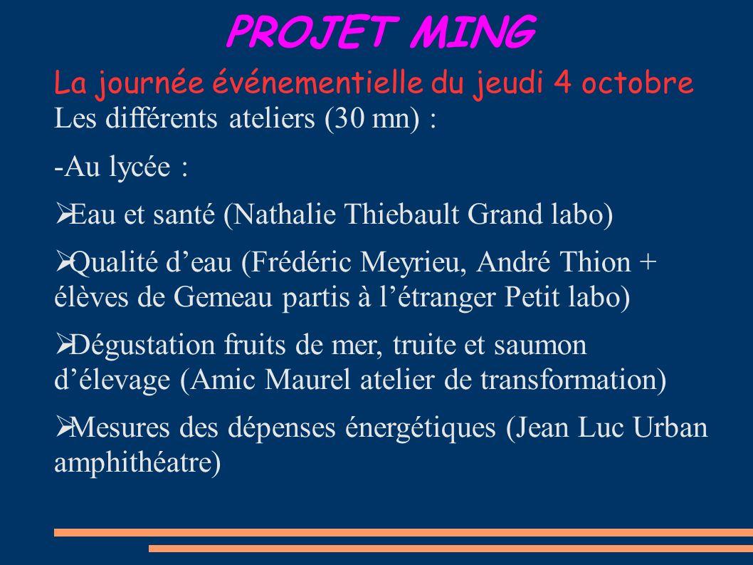 PROJET MING La journée événementielle du jeudi 4 octobre Les différents ateliers (30 mn) : -Au lycée : Eau et santé (Nathalie Thiebault Grand labo) Qu
