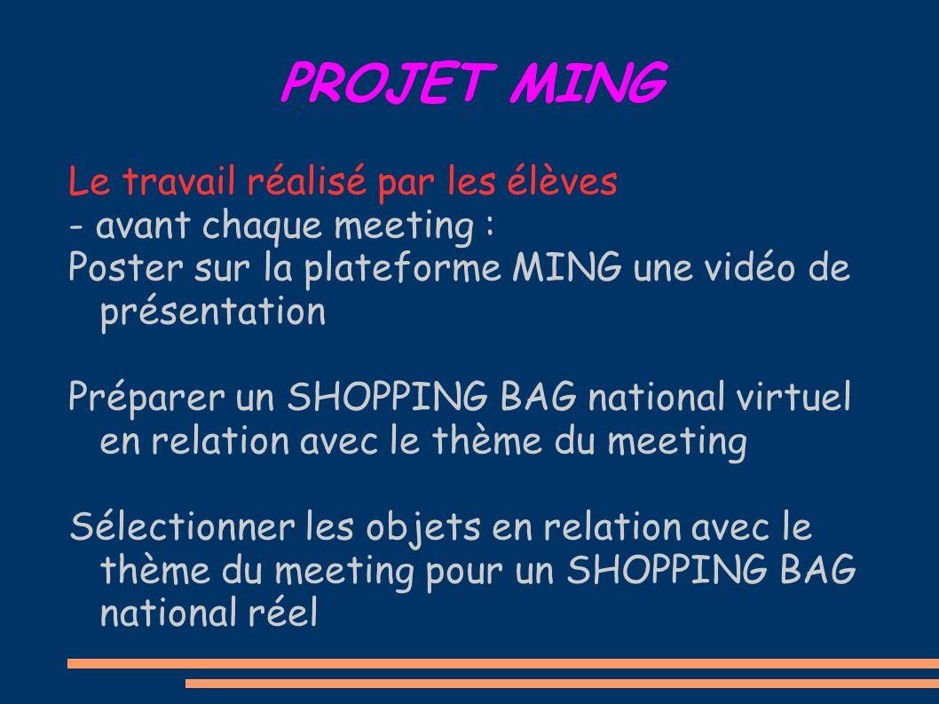 PROJET MING Le travail réalisé par les élèves - avant chaque meeting : Poster sur la plateforme MING une vidéo de présentation Préparer un SHOPPING BA