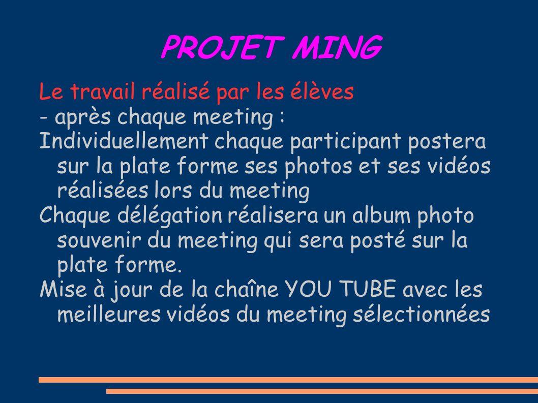 PROJET MING Le travail réalisé par les élèves - après chaque meeting : Individuellement chaque participant postera sur la plate forme ses photos et se