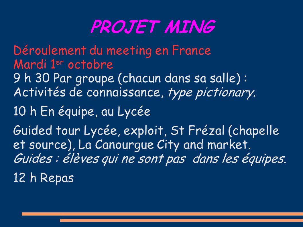 PROJET MING Déroulement du meeting en France Mardi 1 er octobre 9 h 30 Par groupe (chacun dans sa salle) : Activités de connaissance, type pictionary.