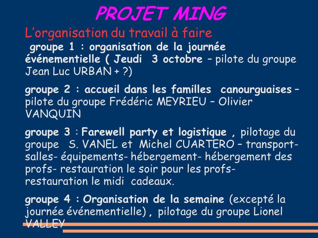 PROJET MING Lorganisation du travail à faire groupe 1 : organisation de la journée événementielle ( Jeudi 3 octobre – pilote du groupe Jean Luc URBAN