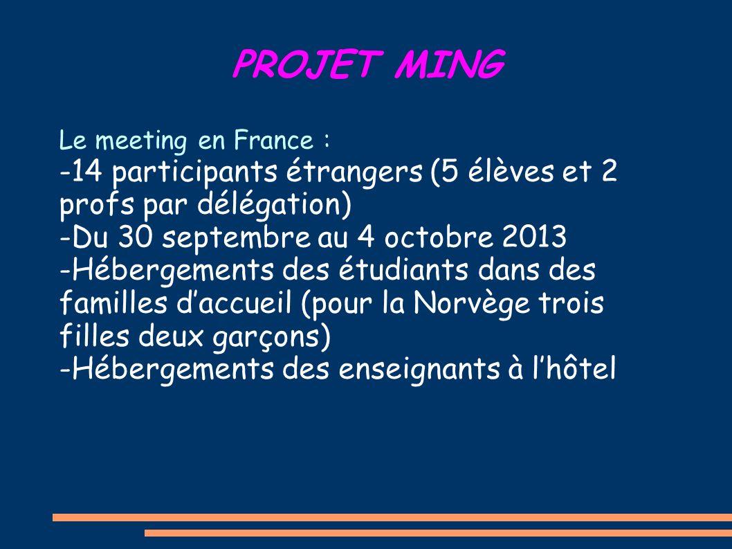 PROJET MING Le meeting en France : -14 participants étrangers (5 élèves et 2 profs par délégation) -Du 30 septembre au 4 octobre 2013 -Hébergements de