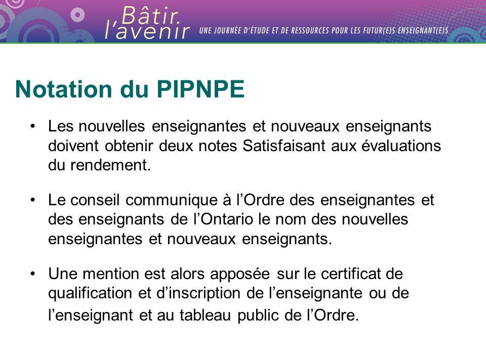 Notation du PIPNPE Les nouvelles enseignantes et nouveaux enseignants doivent obtenir deux notes Satisfaisant aux évaluations du rendement. Le conseil
