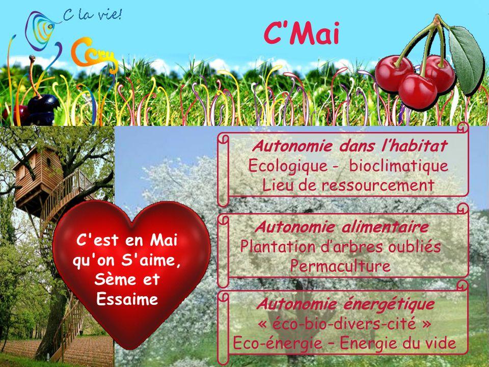 CMai Autonomie dans lhabitat Ecologique - bioclimatique Lieu de ressourcement Autonomie énergétique « éco-bio-divers-cité » Eco-énergie – Energie du vide C est en Mai qu on S aime, Sème et Essaime Autonomie alimentaire Plantation darbres oubliés Permaculture