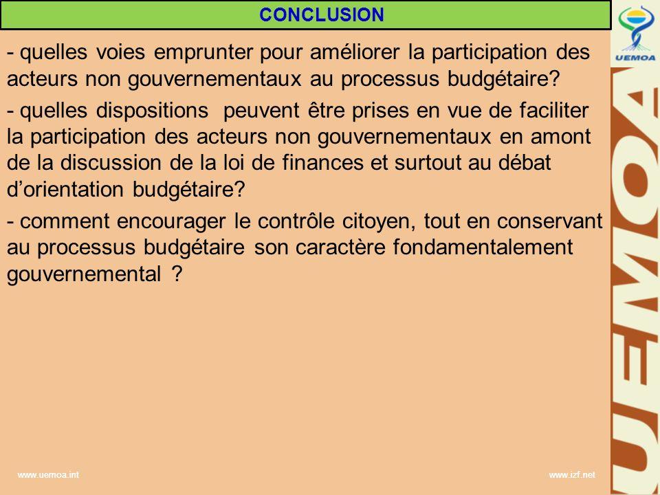 www.uemoa.int www.izf.net - quelles voies emprunter pour améliorer la participation des acteurs non gouvernementaux au processus budgétaire? - quelles