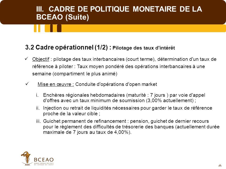 10 III. CADRE DE POLITIQUE MONETAIRE DE LA BCEAO (Suite) 3.2 Cadre opérationnel (1/2) : Pilotage des taux d'intérêt Objectif : pilotage des taux inter