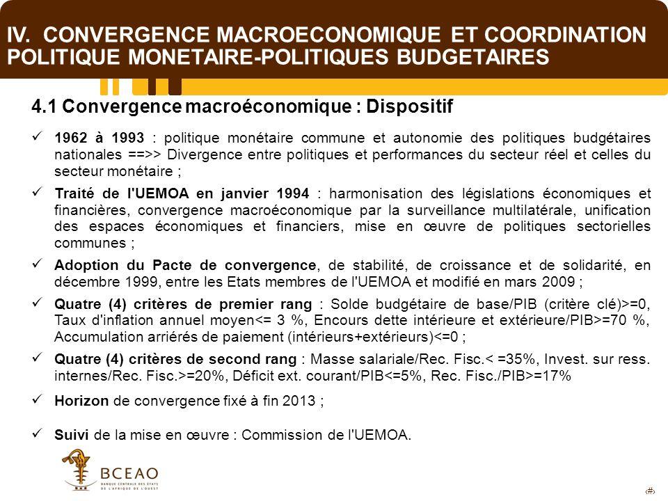 15 IV. CONVERGENCE MACROECONOMIQUE ET COORDINATION POLITIQUE MONETAIRE-POLITIQUES BUDGETAIRES 4.1 Convergence macroéconomique : Dispositif 1962 à 1993