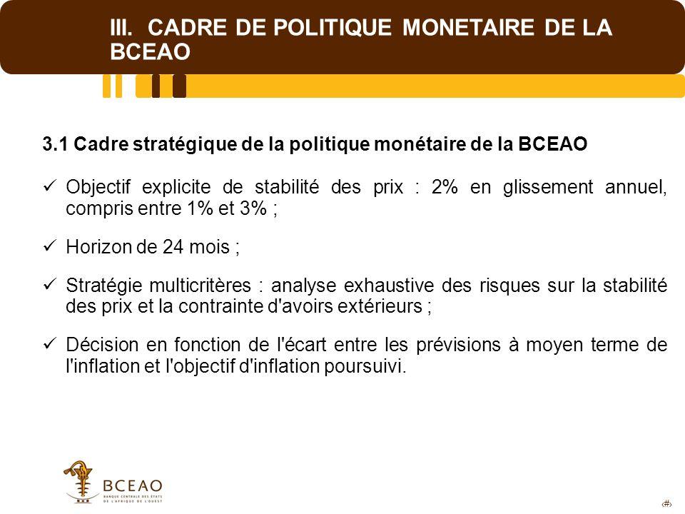 9 III. CADRE DE POLITIQUE MONETAIRE DE LA BCEAO 3.1 Cadre stratégique de la politique monétaire de la BCEAO Objectif explicite de stabilité des prix :