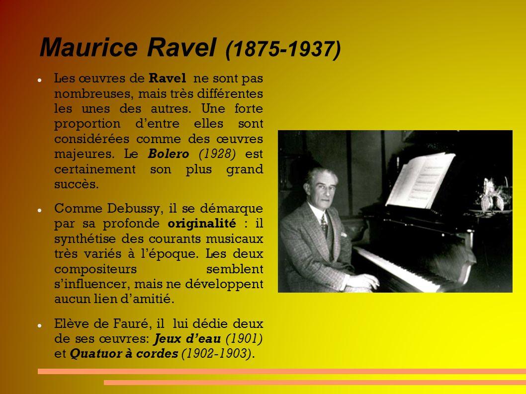 Maurice Ravel (1875-1937) Les œuvres de Ravel ne sont pas nombreuses, mais très différentes les unes des autres. Une forte proportion dentre elles son