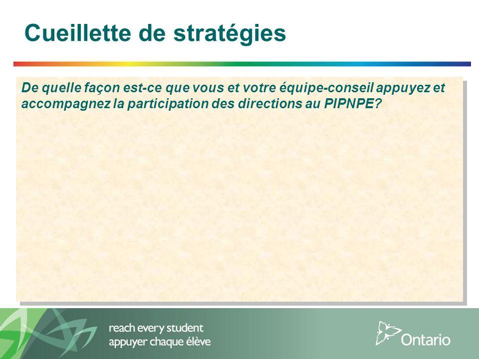 4 Cueillette de stratégies De quelle façon est-ce que vous et votre équipe-conseil appuyez et accompagnez la participation des directions au PIPNPE