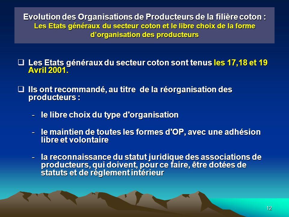 12 Evolution des Organisations de Producteurs de la filière coton : Les Etats généraux du secteur coton et le libre choix de la forme dorganisation des producteurs Les Etats généraux du secteur coton sont tenus les 17,18 et 19 Avril 2001.