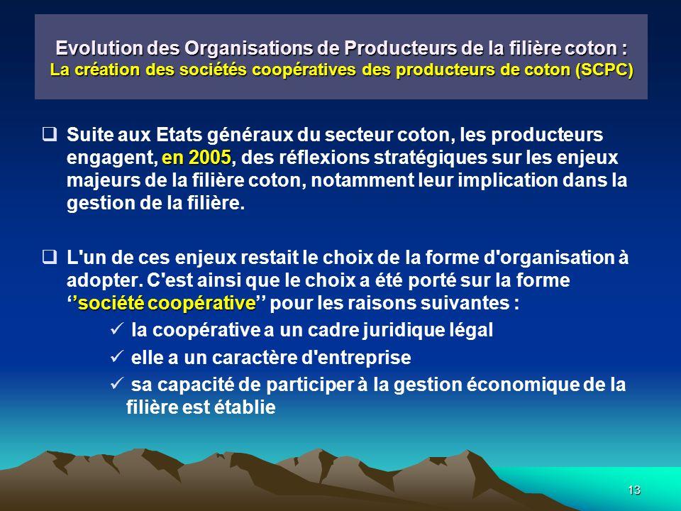 13 Evolution des Organisations de Producteurs de la filière coton : La création des sociétés coopératives des producteurs de coton (SCPC) en 2005 Suite aux Etats généraux du secteur coton, les producteurs engagent, en 2005, des réflexions stratégiques sur les enjeux majeurs de la filière coton, notamment leur implication dans la gestion de la filière.
