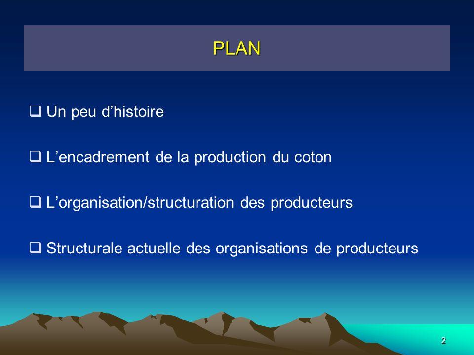 2 PLAN Un peu dhistoire Lencadrement de la production du coton Lorganisation/structuration des producteurs Structurale actuelle des organisations de producteurs