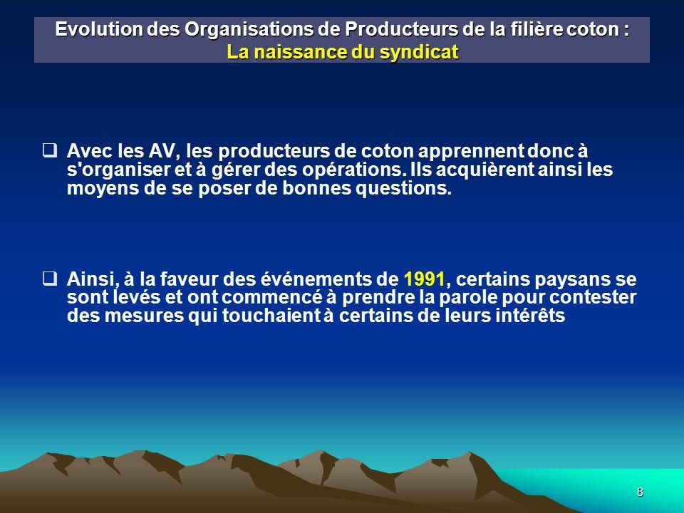 9 Evolution des Organisations de Producteurs de la filière coton : La naissance du syndicat Cest ainsi que, suite à la diminution de 35 FCFA du prix dachat du Kg de coton graine, les producteurs de coton des régions CMDT de Koutiala et San se sont soulevés par exprimer leur désaccord.