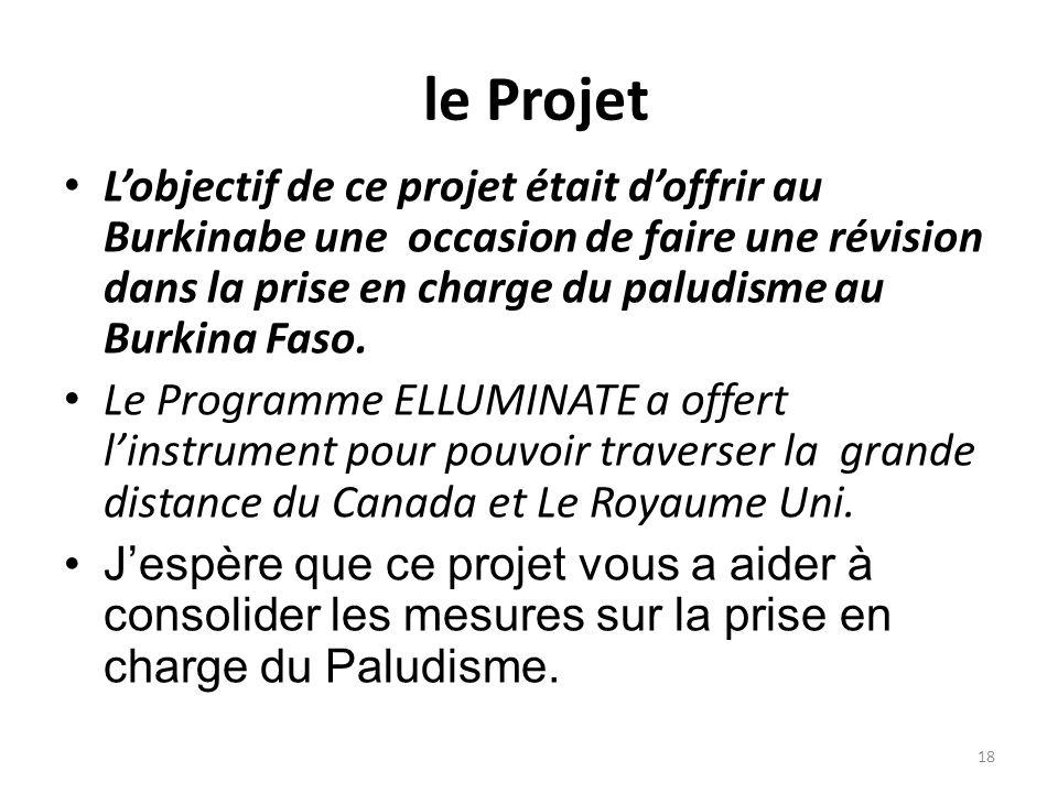 le Projet Lobjectif de ce projet était doffrir au Burkinabe une occasion de faire une révision dans la prise en charge du paludisme au Burkina Faso. L