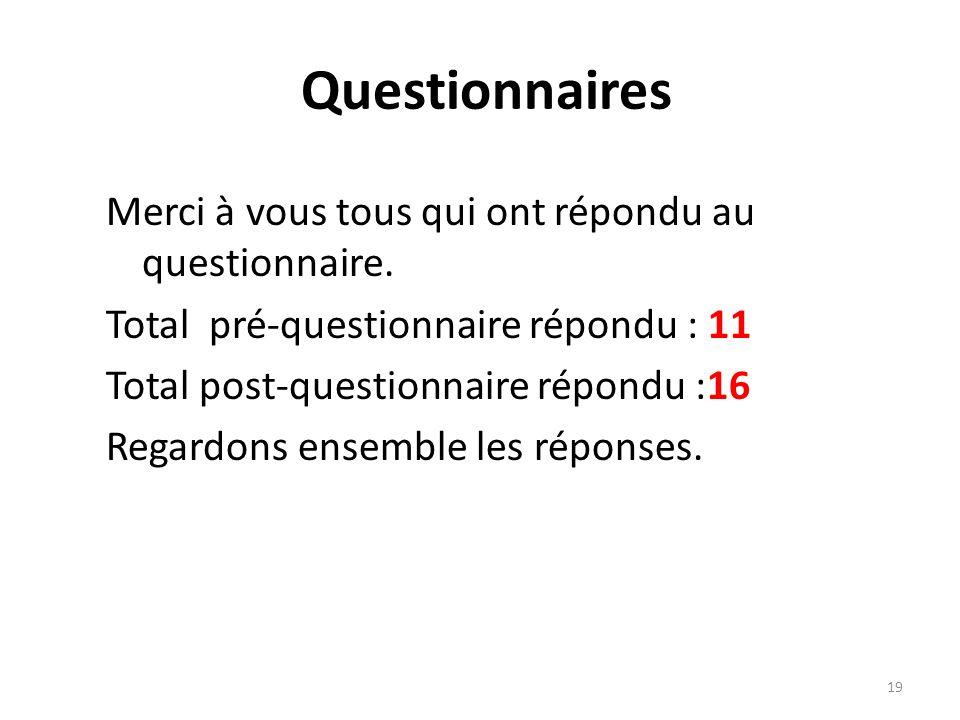 Merci à vous tous qui ont répondu au questionnaire. Total pré-questionnaire répondu : 11 Total post-questionnaire répondu :16 Regardons ensemble les r