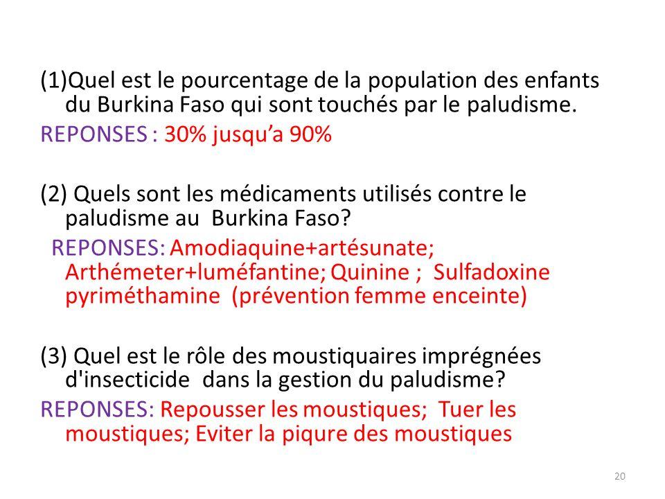 (1)Quel est le pourcentage de la population des enfants du Burkina Faso qui sont touchés par le paludisme. REPONSES : 30% jusqua 90% (2) Quels sont le