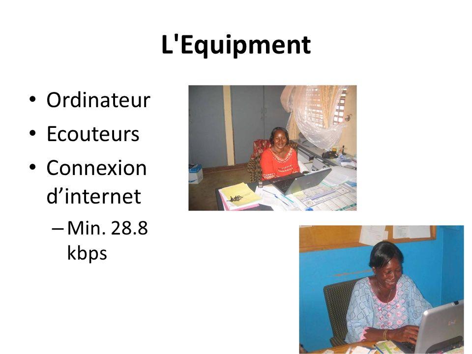 L'Equipment Ordinateur Ecouteurs Connexion dinternet – Min. 28.8 kbps