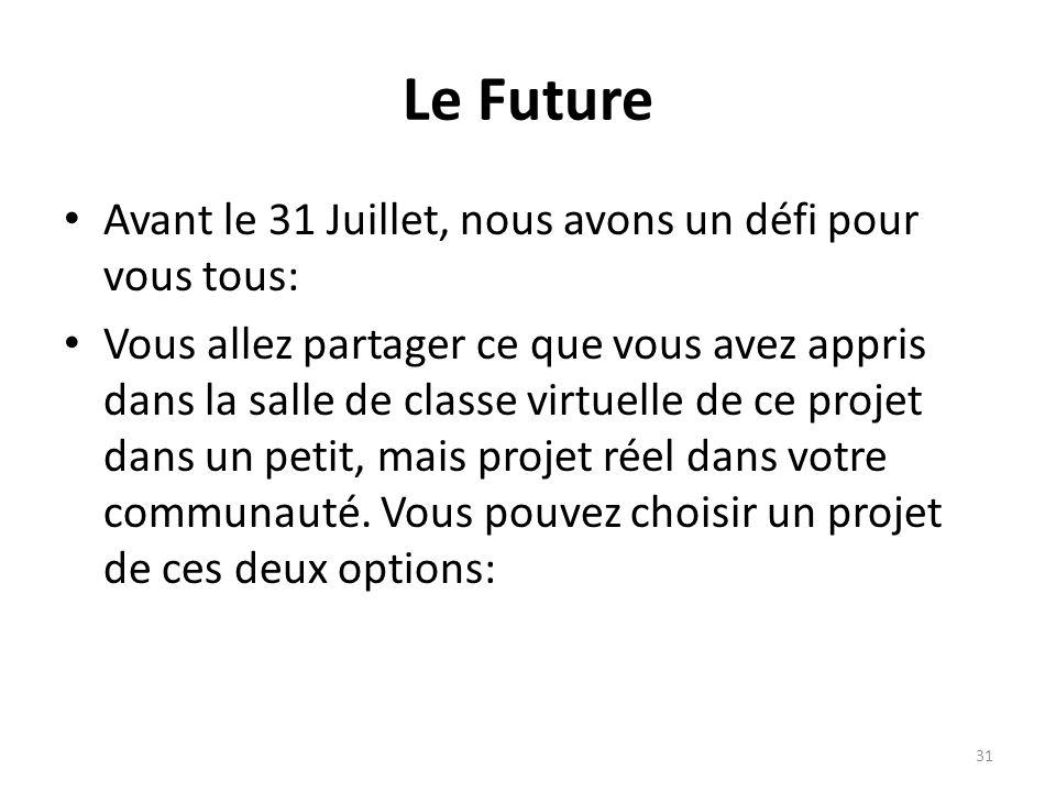 Le Future Avant le 31 Juillet, nous avons un défi pour vous tous: Vous allez partager ce que vous avez appris dans la salle de classe virtuelle de ce