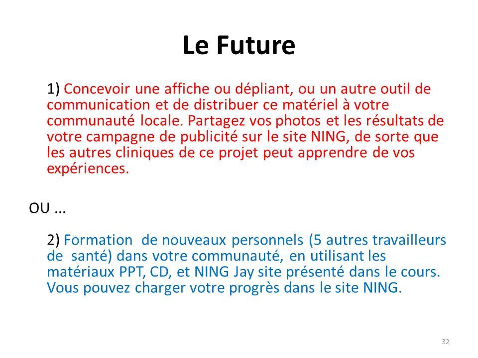 Le Future 1) Concevoir une affiche ou dépliant, ou un autre outil de communication et de distribuer ce matériel à votre communauté locale. Partagez vo