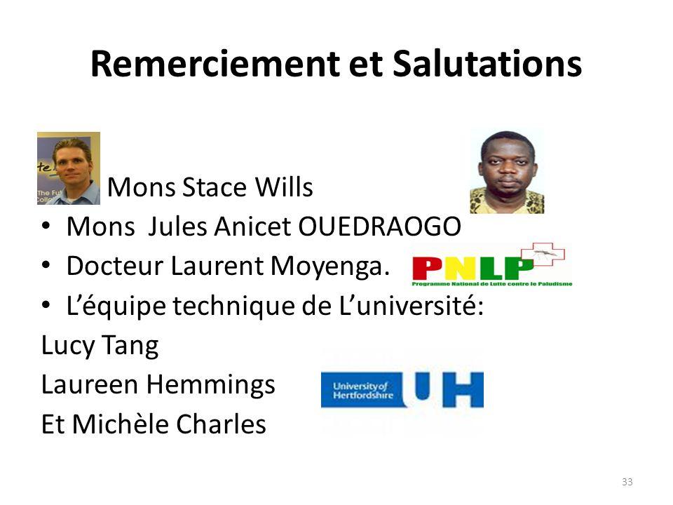 Remerciement et Salutations Mons Stace Wills Mons Jules Anicet OUEDRAOGO Docteur Laurent Moyenga. Léquipe technique de Luniversité: Lucy Tang Laureen