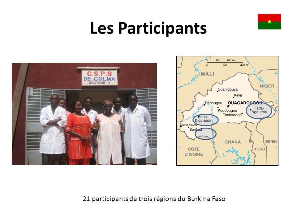 Les Participants 21 participants de trois régions du Burkina Faso
