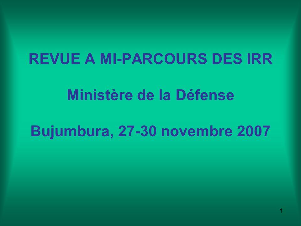 1 REVUE A MI-PARCOURS DES IRR Ministère de la Défense Bujumbura, 27-30 novembre 2007