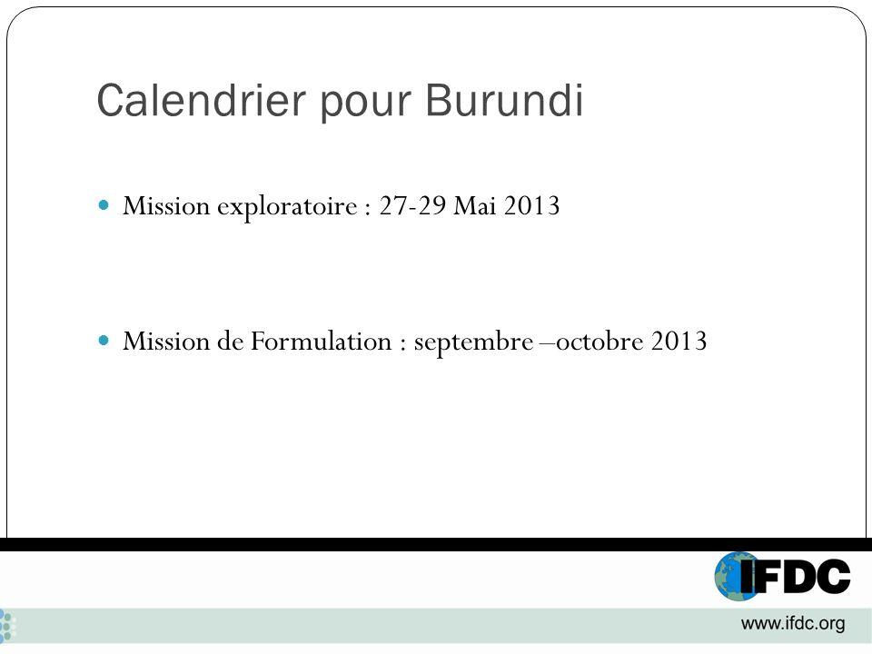 Calendrier pour Burundi Mission exploratoire : 27-29 Mai 2013 Mission de Formulation : septembre –octobre 2013