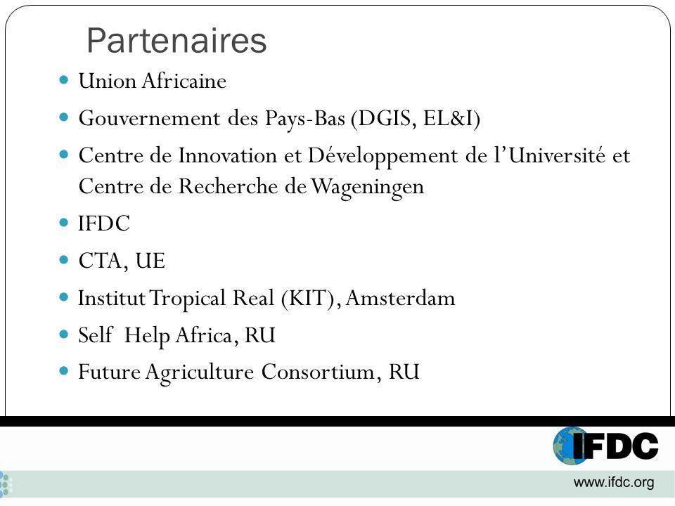Partenaires Union Africaine Gouvernement des Pays-Bas (DGIS, EL&I) Centre de Innovation et Développement de lUniversité et Centre de Recherche de Wage