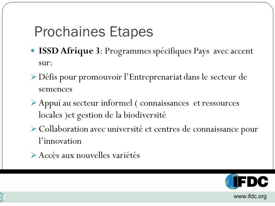 Prochaines Etapes ISSD Afrique 3: Programmes spécifiques Pays avec accent sur: Défis pour promouvoir lEntreprenariat dans le secteur de semences Appui