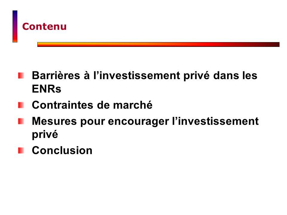 Contenu Barrières à linvestissement privé dans les ENRs Contraintes de marché Mesures pour encourager linvestissement privé Conclusion