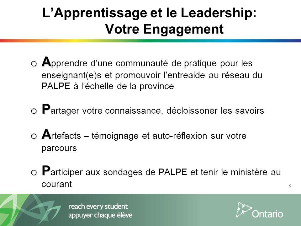 LApprentissage et le Leadership: Votre Engagement o A o A pprendre dune communauté de pratique pour les enseignant(e)s et promouvoir lentreaide au rés