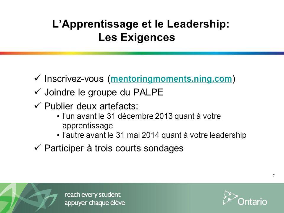 LApprentissage et le Leadership: Les Exigences Inscrivez-vous ( mentoringmoments.ning.com ) mentoringmoments.ning.com Joindre le groupe du PALPE Publi