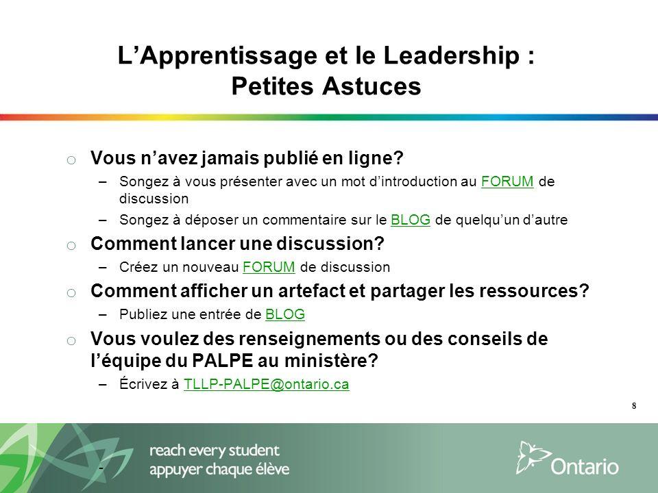 LApprentissage et le Leadership : Petites Astuces o Vous navez jamais publié en ligne.