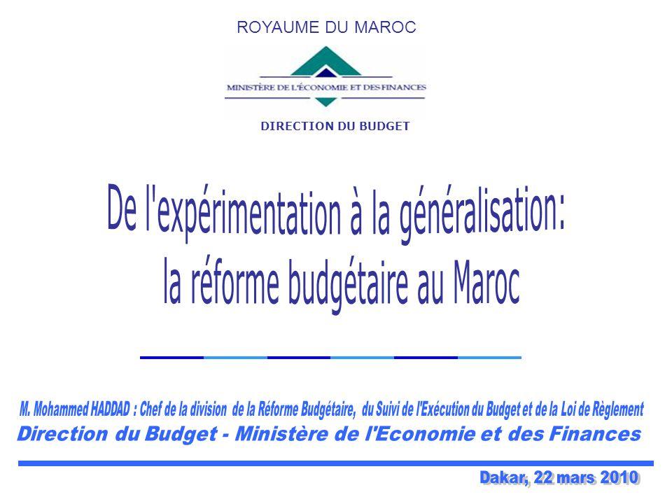 DIRECTION DU BUDGET ROYAUME DU MAROC