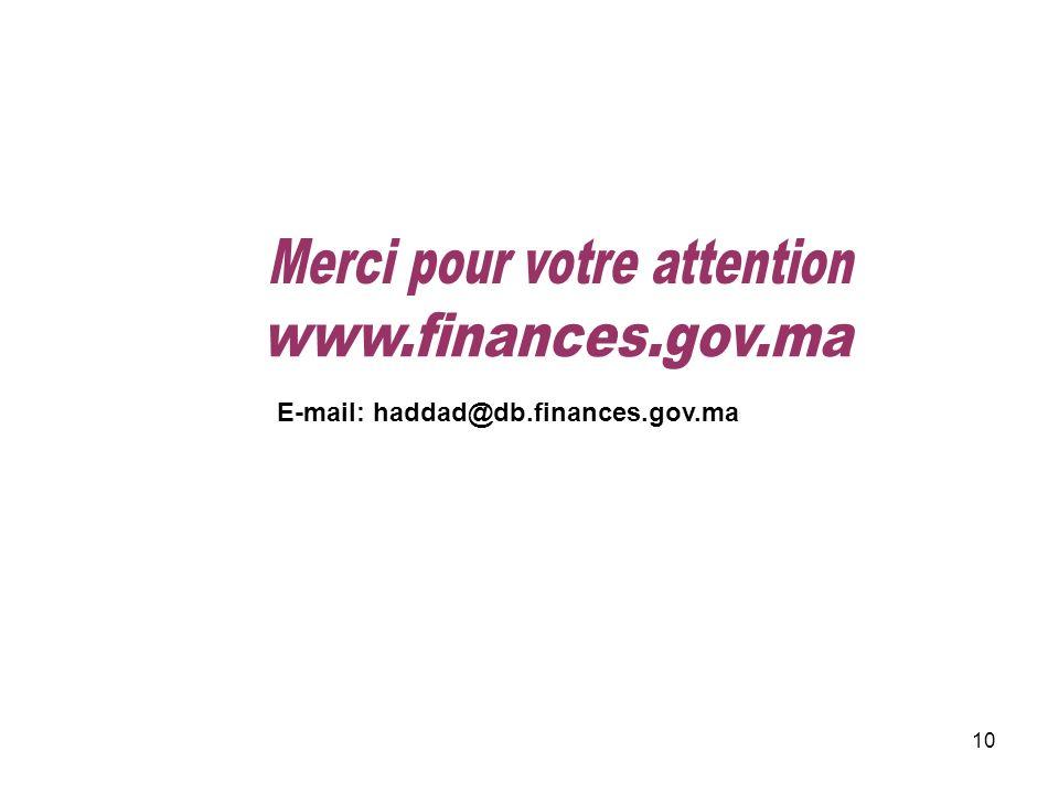 10 E-mail: haddad@db.finances.gov.ma