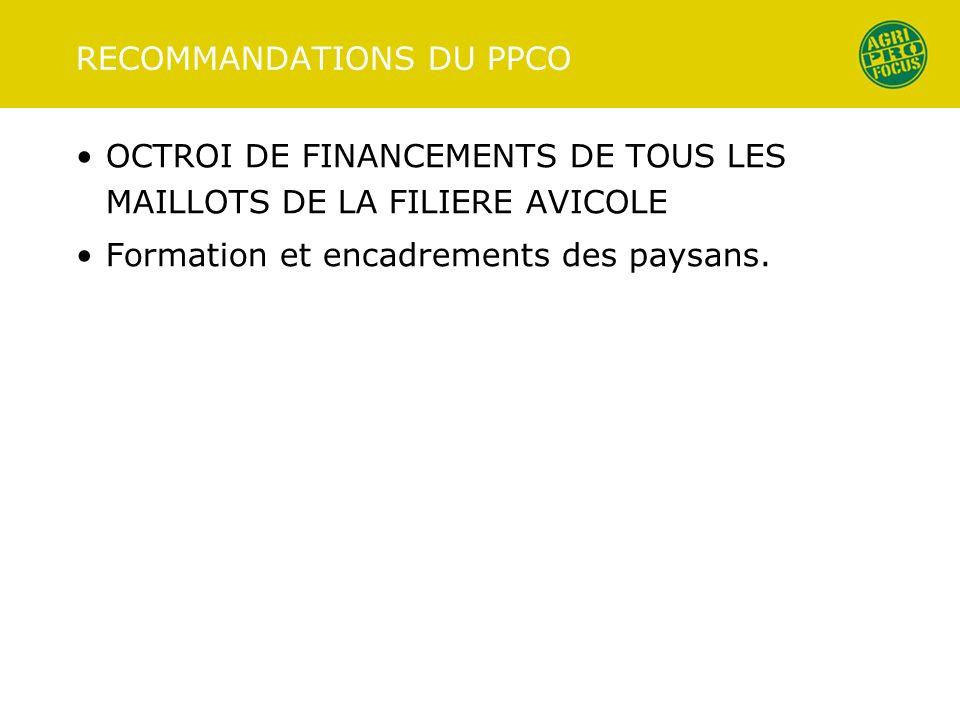 RECOMMANDATIONS DU PPCO OCTROI DE FINANCEMENTS DE TOUS LES MAILLOTS DE LA FILIERE AVICOLE Formation et encadrements des paysans.
