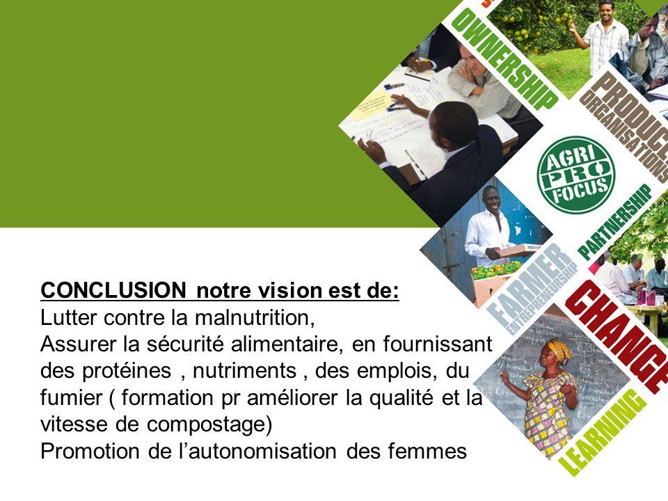 CONCLUSION notre vision est de: Lutter contre la malnutrition, Assurer la sécurité alimentaire, en fournissant des protéines, nutriments, des emplois,