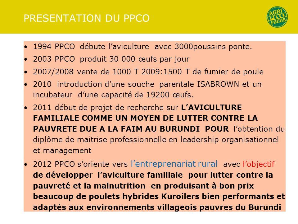 PRESENTATION DU PPCO 1994 PPCO débute laviculture avec 3000poussins ponte. 2003 PPCO produit 30 000 œufs par jour 2007/2008 vente de 1000 T 2009:1500