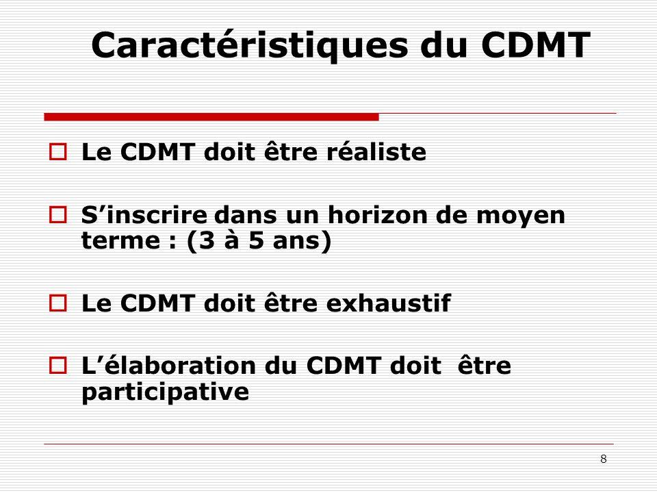 8 Caractéristiques du CDMT Le CDMT doit être réaliste Sinscrire dans un horizon de moyen terme : (3 à 5 ans) Le CDMT doit être exhaustif Lélaboration du CDMT doit être participative